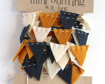 Fall Mini Bunting Felt Garland in goldenrod / mustard, antique white, and navy blue - 8 ft long