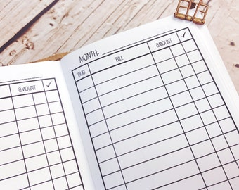 Traveler's Notebook PERSONAL Size Bill Pay Checklist