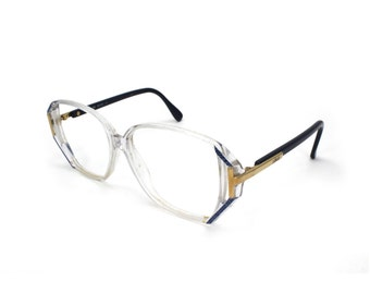 Silhouette Vintage 1980s Oversized Eyeglass Frames Eyeglasses Gold-Tone Metal Clear Plastic Bold Geometric Cutout Statement Frames Austria