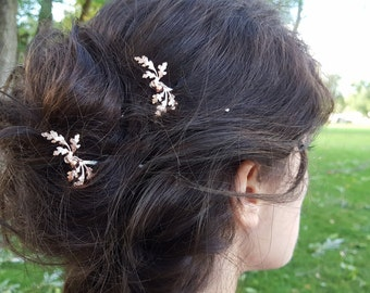 Oak Leaves and Acorn Rose Gold Hair Pin, Bobby Pin, Woodland, Rustic, Garden Wedding Hair Clip, Vintage Bridal Hair