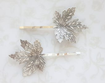 Silver Maple Leaf Hairpins, Bobby Pins, Woodland Nature Rustic Garden Wedding Bridal Hair Clip Frosty Canada Fall Winter