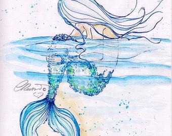 Mermaid watercolor painting, Floating Mermaid, Limited Edition Art Print, Watercolor mermaid illustration, Fine Art Print, Mermaid drawing,