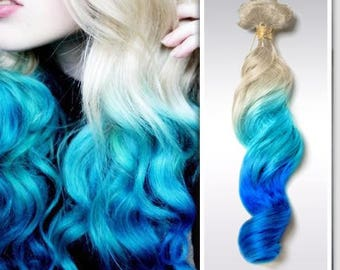 Clip in Remy Human Hair Extensions Blonde and Teal Blue