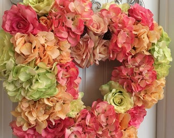 READY TO SHIP-Heart Shaped Pastel Floral Wreath-Spring Wreath-Summer Wreath-Hydrangea Wreath-Mother's Day Gift-Pink Coral Lime Green Wreath