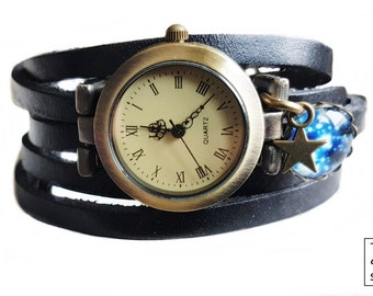 "Wrap Watch, Bracelet Watch, Wrist Watch, Vintage Watch Real Leather  for women ""Galaxy"" Bracelet:  black"