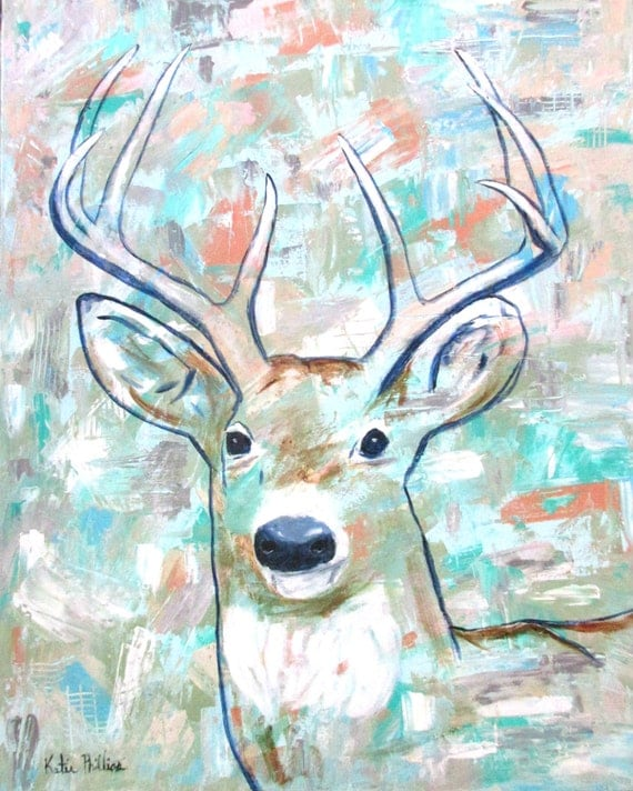 Deer Painting Abstract Buck Painting Feminine Style Whitetail Buck With Antlers Wall