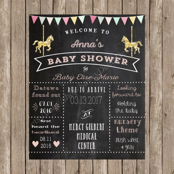 Carousel Baby Shower Sign Printable - Mommy-to-be Chalkboard Poster - Carousel Baby Shower - Carousel Themed Baby Shower - DIY Printable