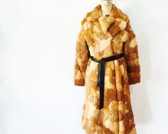 SALE / Vintage Fur Heavy Winter Coat / Genuine Fur / Sixties 1960s 60s / Size Large