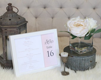 """Wedding Reception Menu - Combined with Table Number - 8"""" x 10"""""""