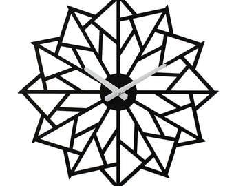 "18"" Pinwheel WALL CLOCK Contemporary Laser Cut Wood"