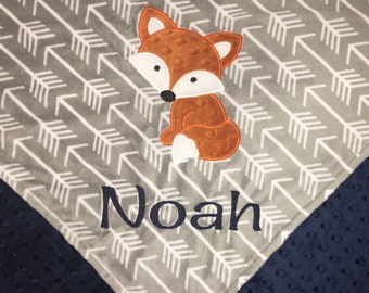 Personalized Crib Blanket, Fox Blanket, Arrow Blanket, Minky Baby Blanket, Grey Arrow Minky, Baby Blanket, Custom Blanket, Made to Order
