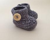 Grey baby booties baby shoes crochet baby shoes crib shoes baby baby footwear booties baby slippers crochet