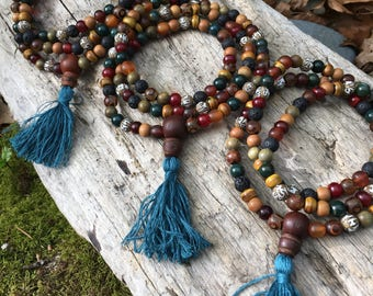 Boho Buddhist Mala Prayer Bead Necklace yc226