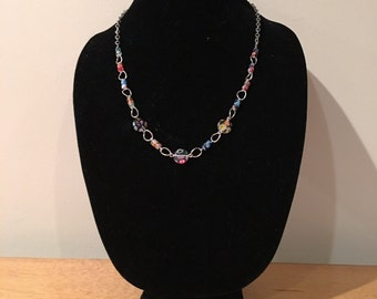 Necklace. Glass Beads. Blue Red Yellow Green Multi-Color