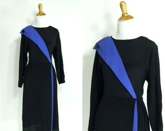 Vintage 1980s Dress | 80s does 40s Rayon Two Tone Colorblock Dress | Black and Periwinkle Blue | medium M