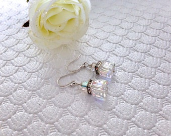 Free Shipping,Swarovski Cube Crystal Earrings,bridal earrings,Swarovski crystals earrings,square crystal earrings,bridesmaid earrings