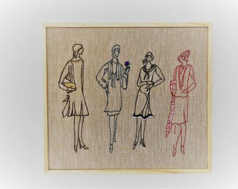 Four elegant women,  Hand embroidery,  wall decor,  fiber art Ooak