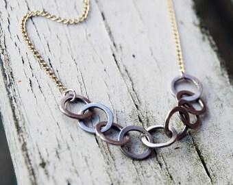 Palladium and gold circle necklace