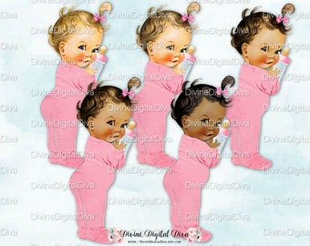 Vintage Baby Girl Pink Footie Pajamas & Bottle | 4 Skin Tones | Clipart Instant Download