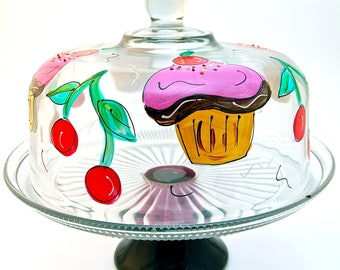 Cupcake Cake Dome Set | Cake Stand with Pedestal | Hand Painted Glass | Cherries Cupcakes | Serving Dish