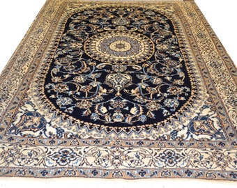 Amazing Vintage Naeen 7x10 Wool Silk Persian Rug Navy Color in mint condition Handwoven Central Medallion