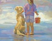 Little Girl and golden retriever art giclee print, beach print, 8 x 10 Lucelle Raad Art