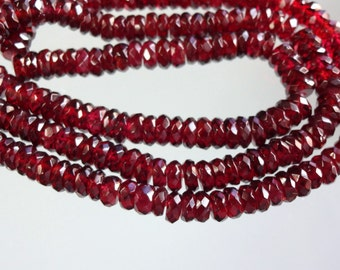 16-inch Natural Garnet faceted rondelle beads size 4-5mm 107cts GW2415