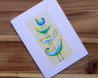Blue green birds on yellow, Eight blank notecards and envelopes