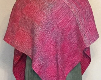 Shawl Handwoven Shawl Wrap - Hand Woven V-Shawl hand dyed cotton & bambo - OOAK Hand Woven shawl poncho in pink and shades of pink and grey