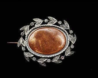 19th Century Antique Victorian sterling brooch pin sunstone goldstone seed pearls