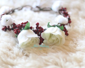 BEAUTIFUL,  Flower crown/ Head Wreath/ Bridal/ Photography Prop, Woodland Grapevine Floral Crown Head Wreath, Holiday