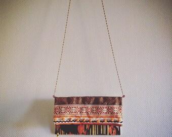 SALE!!! 20%OFF  Boho orange clutch bag with Japanese vintage kimono's cloth