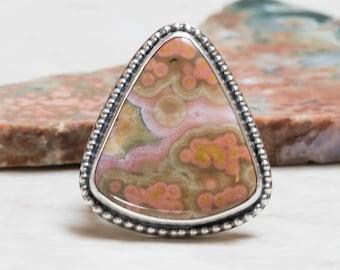 Ocean Jasper Ring - 8.0, Sterling Silver, Oxidized
