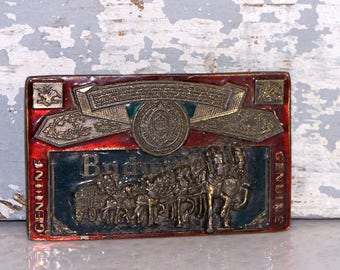 Belt Buckle Anheuser-Busch Beer Vintage #H820 1982 Red BUDWEISER Clydesdales Budweiser King of Beers Brass or Metal Collectible Accessory