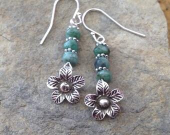 Raw Emerald Earrings, Sterling Silver, Semi Precious Gemstone, Karen Hill Tribe, Flower Charm, Drop Earrings, May Birthstone, Gift for her