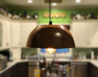 Turned Walnut Pendant Light with Edison Bulb