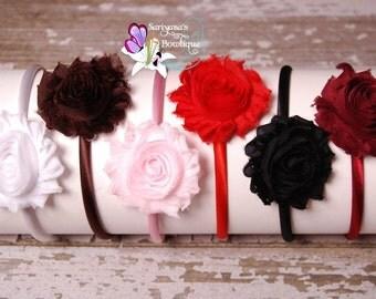 Shabby Flower Satin Lined Hard Headband, Flower Girl Headband, Toddler Teen Woman, 19 Colors - SB-041hnr