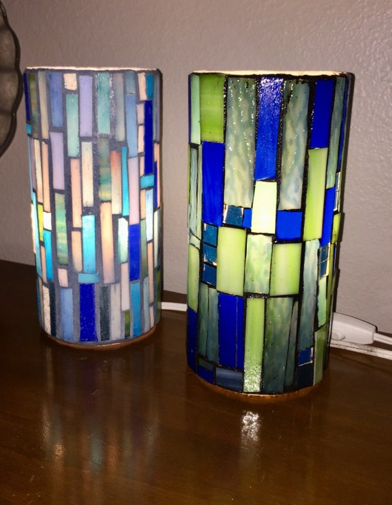 Stained glass lamps mosaic accent lights background lighting Stained glass bathroom light fixtures