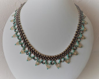 Bronze, Gold and Turquoise Seed Bead Necklace