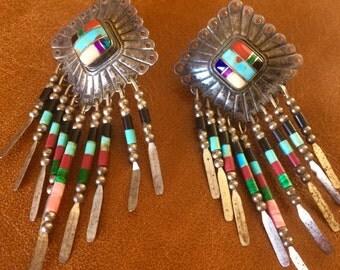 Vintage QT sterling silver Indian earrings