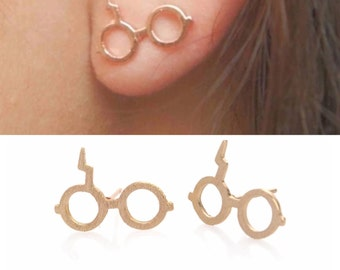 Harry Potter post earrings. Rose gold colored. Harry Potter jewelry.