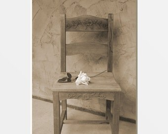 Sepia Rose On Chair Country Home Decor Wall Art Matted Picture
