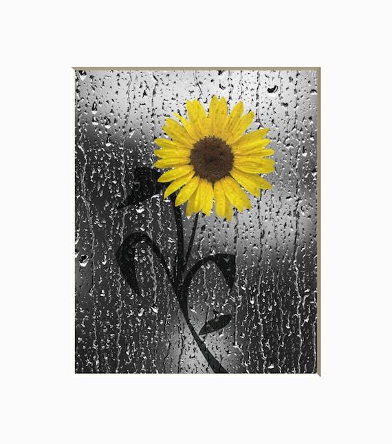 Sunflower Raindrops Bathroom Wall Decor Yellow Gray Bathroom