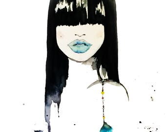 Instant Digital Download, Watercolor painting, Woman Art, feathers, original print, fashion