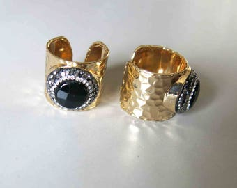 Pave Rhinestone Rings With Black Agate Inlay- B1629