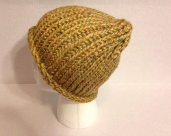 tweed beanie- tweed hat -winter hat -knit beanie- hand knit beaine -cozy hat-gifts for her-gifts for him-gifts-beanie