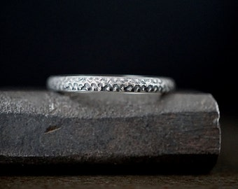 Industrial Pattern Sterling Band , Size 10 Ring , Mens Thin Rustic Textured Ring , Half Round Silver Band , Mens Jewelry