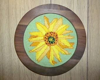 """Framed Needlepoint Original """"Sunflower"""""""
