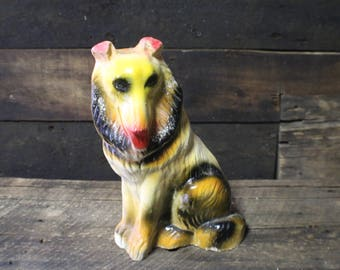 Chalkware Collie, Vintage Carnival Chalkware Dog