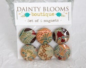 Set of 6 Magnets with Liberty of London fabrics- vintage Ianthe- peach, blue, wine red, pink and brown